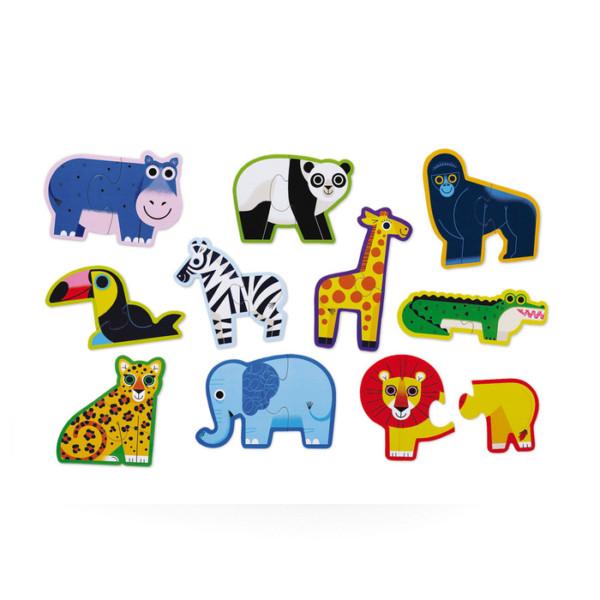 ROMPECABEZAS DE INICIO/ PUZZLES/ 10 ANIMALES DE LA SELVA EN 2 PIEZAS