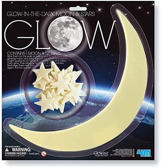 GLOW IN THE DARK MOON AND STARS 4M BRILLA EN LA OSCURIDAD